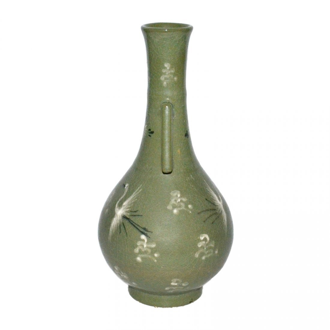 Korea, Green-glazed Crane amidst Cloud Vase with Handle - 4