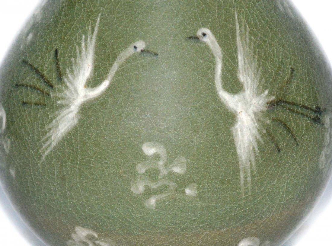 Korea, Green-glazed Crane amidst Cloud Vase with Handle - 7