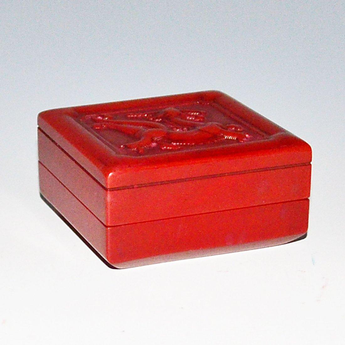 A Square Jixue Stone Seal Inside a Chi Dragon Relief - 3