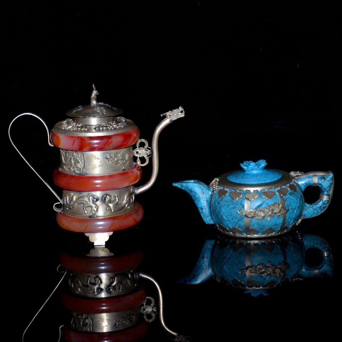 Two Turquoise and Amber Silver Pots