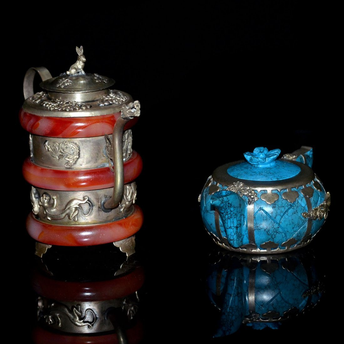 Two Turquoise and Amber Silver Pots - 2