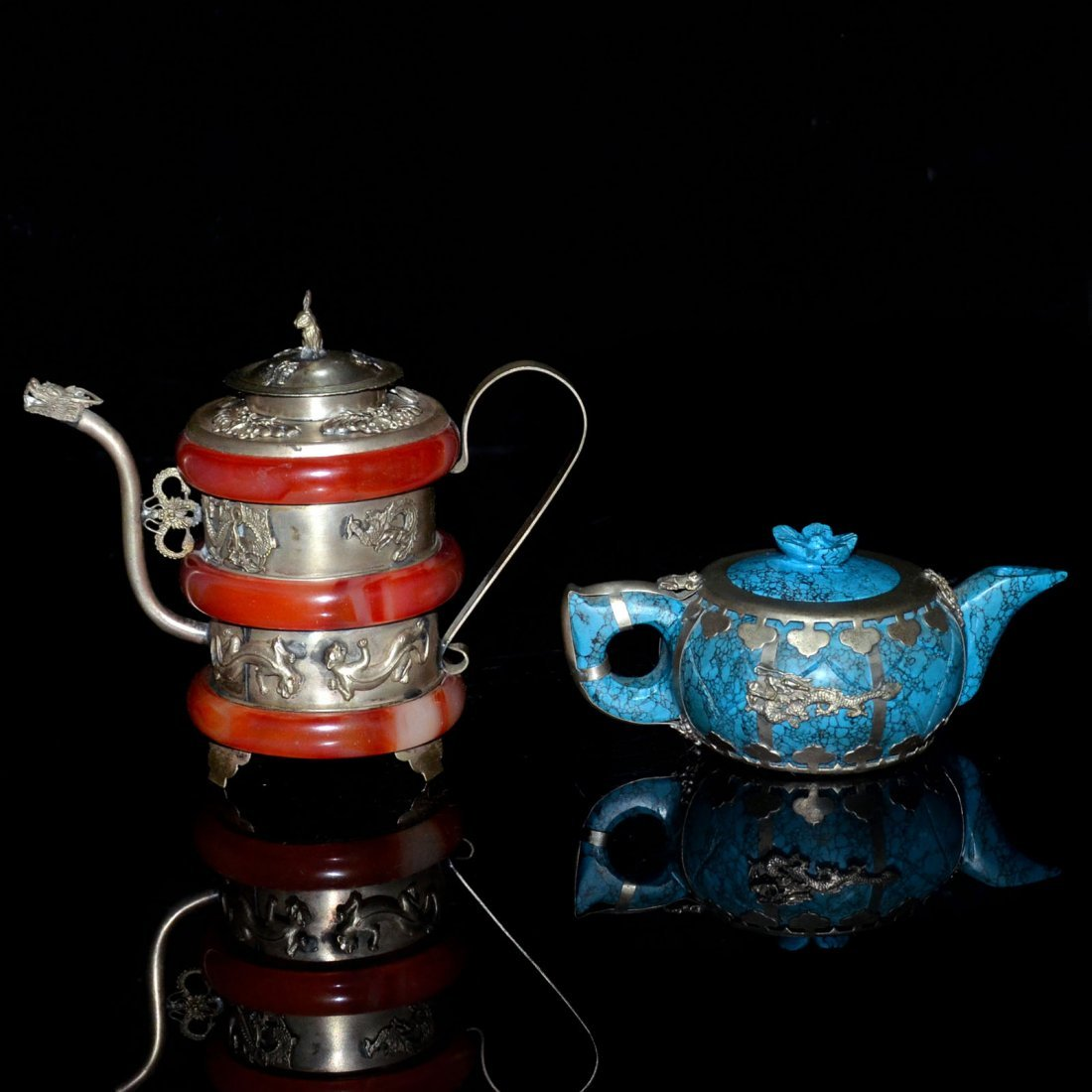 Two Turquoise and Amber Silver Pots - 3