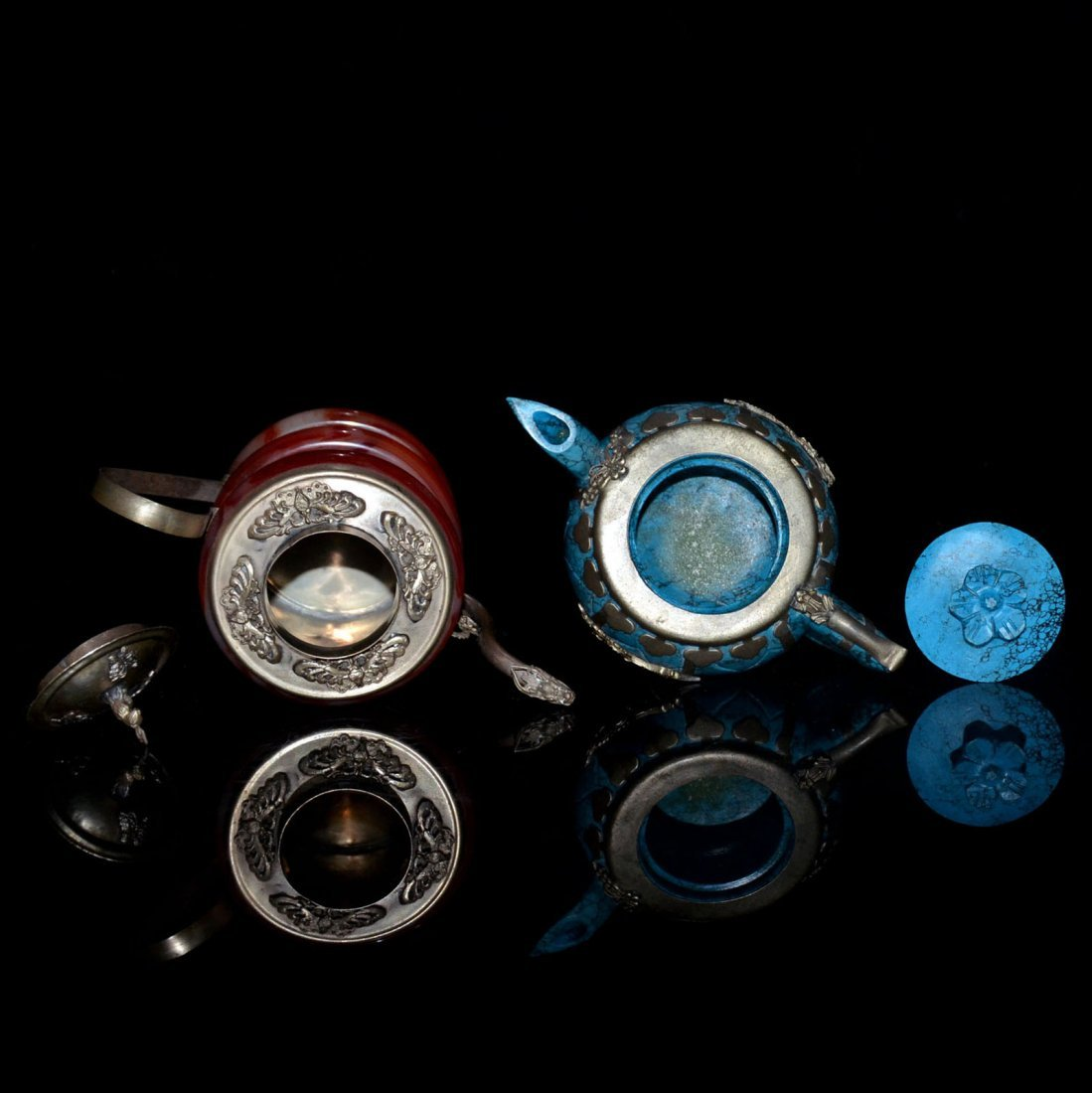Two Turquoise and Amber Silver Pots - 4