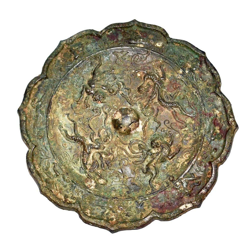 Bronze Octo-lobed Mirror with Auspicious Beasts and