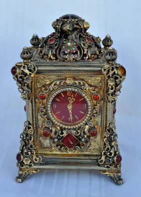 Rare Vienna Clock Silver And Gold Plated