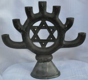 1930th, Russian Menorah Decorated With A Star Of David.