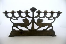 Israeli Cast Bronze Hanukkah Lamp 1950's. Z. Raban