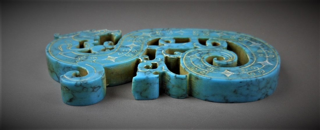 A CHINESE ARCHAIC DRAGON-FORMED TURQUOIS PENDANT - 5