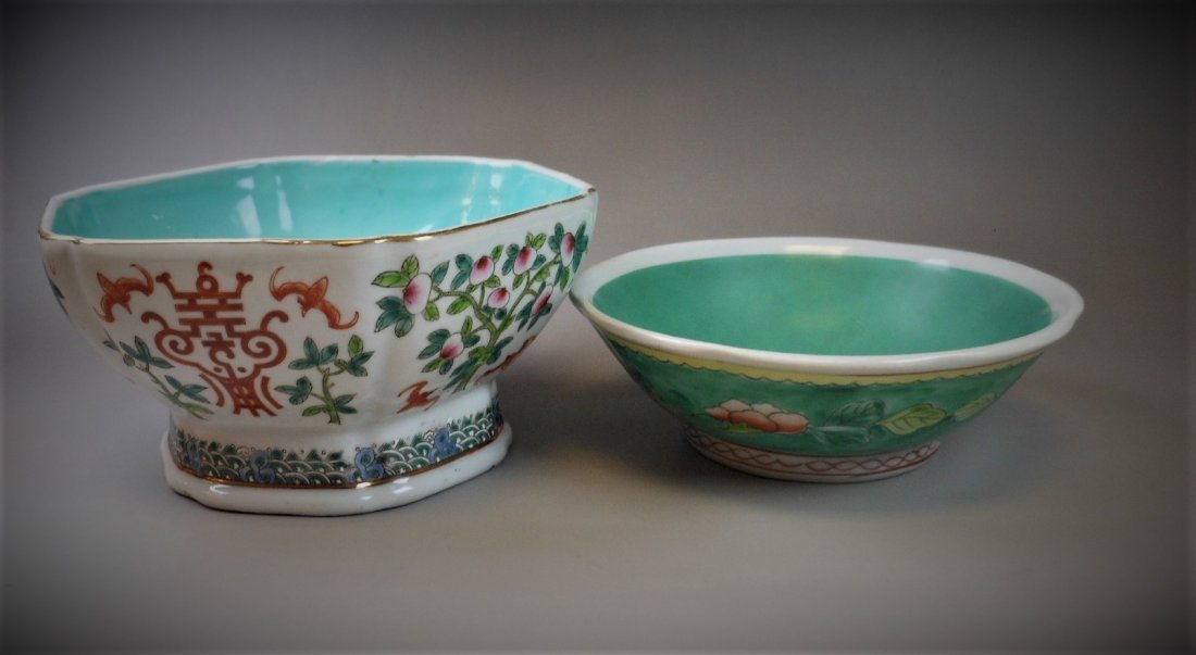 2 CHINESE FAMILLE ROSE PORCELAIN BOWLS