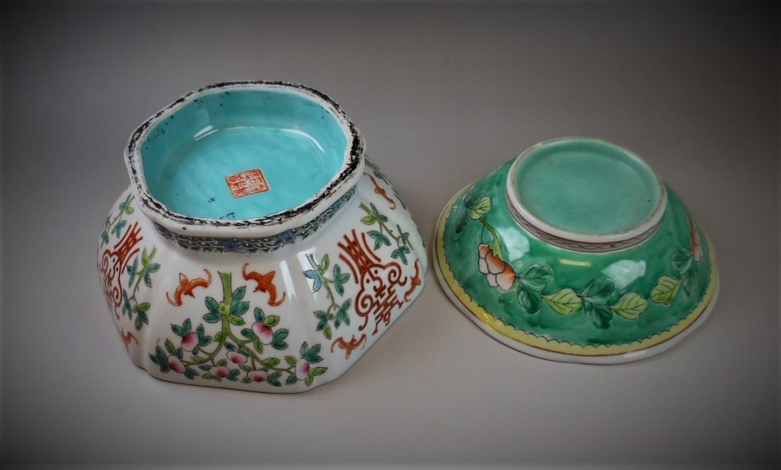 2 CHINESE FAMILLE ROSE PORCELAIN BOWLS - 3