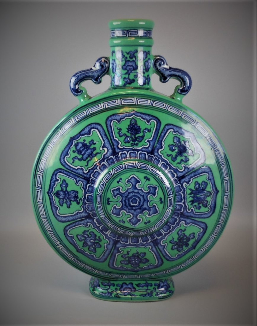 A CHINESE BLUE & WHITE WITH GREEN GLAZED VASE