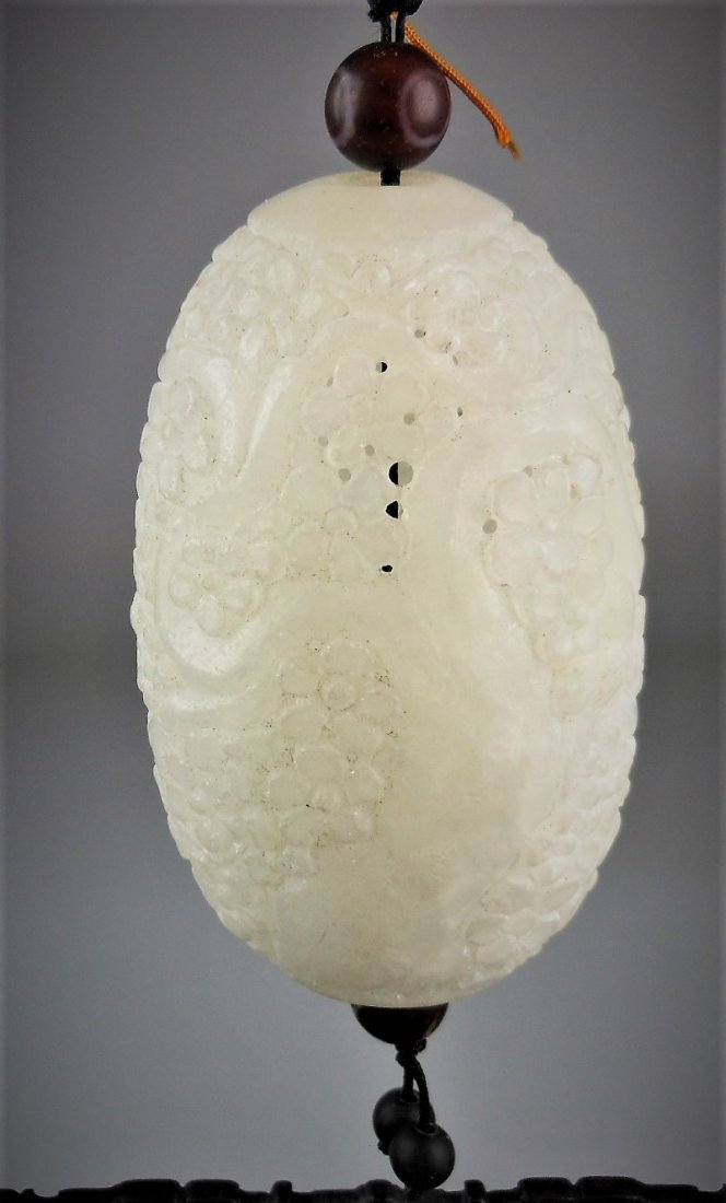 A Chinese white jade carved with plum blossom with stan - 3