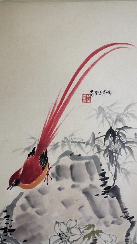 A Chinese color painting paper scroll - 2