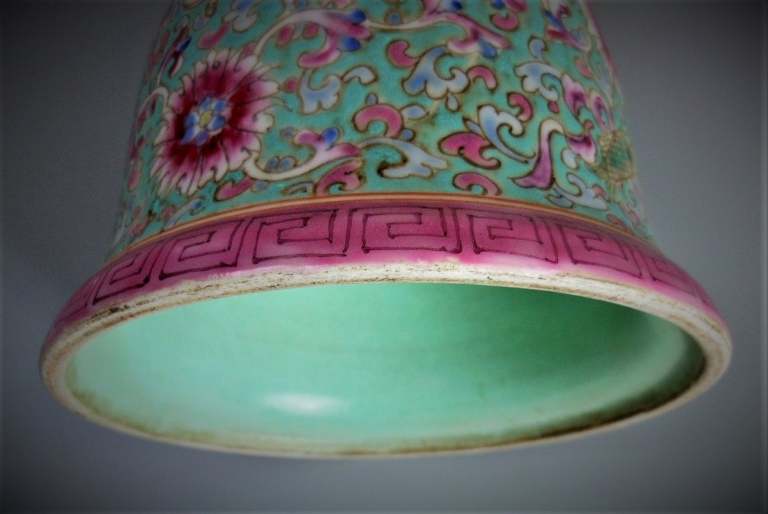 A Chinese green background famille rose porcelain gu - 8