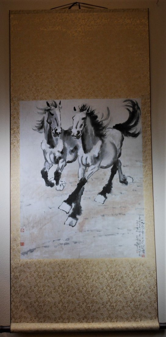 A Chinese color painting paper scroll