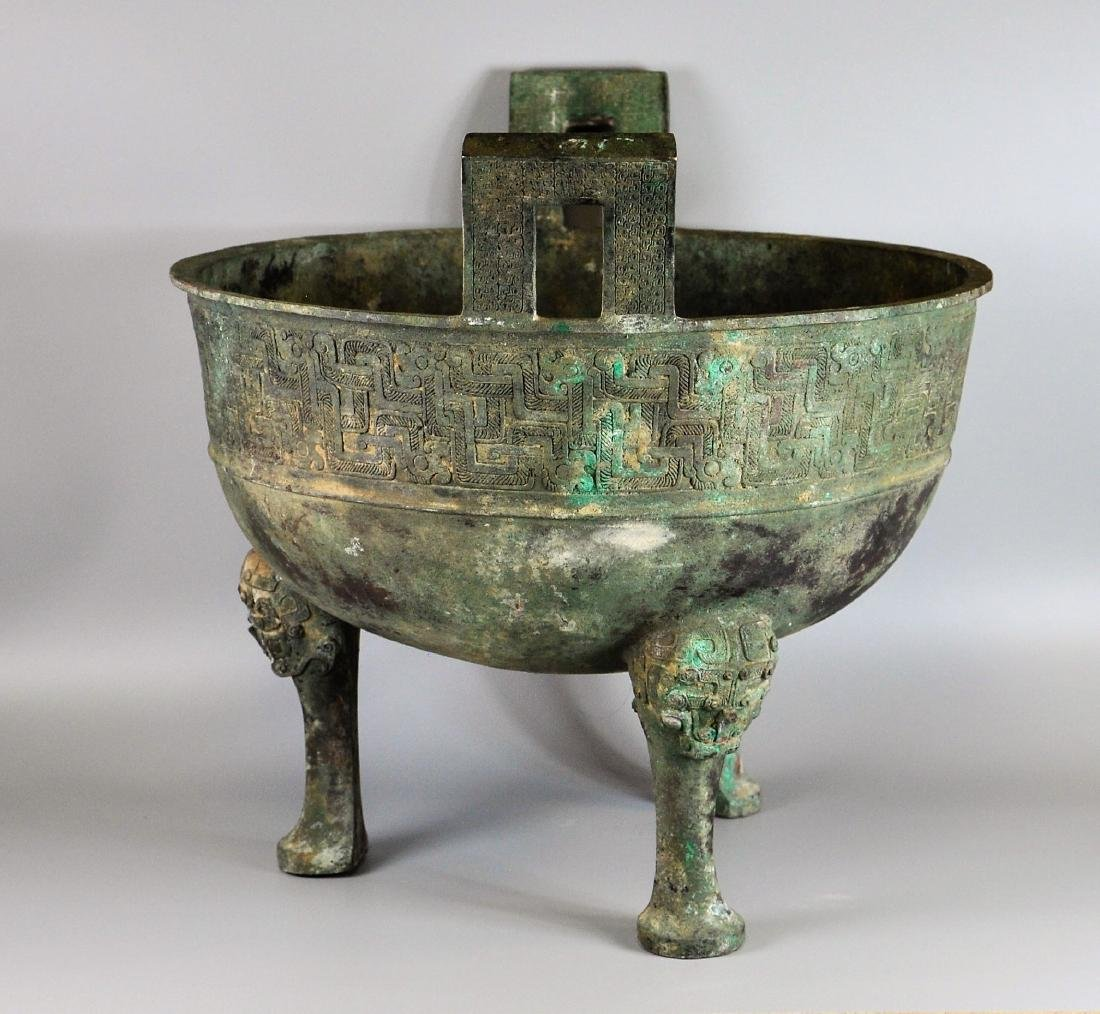 A large Chinese archaic bronze vessel, ding - 2