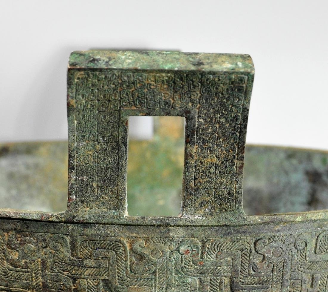 A large Chinese archaic bronze vessel, ding - 8