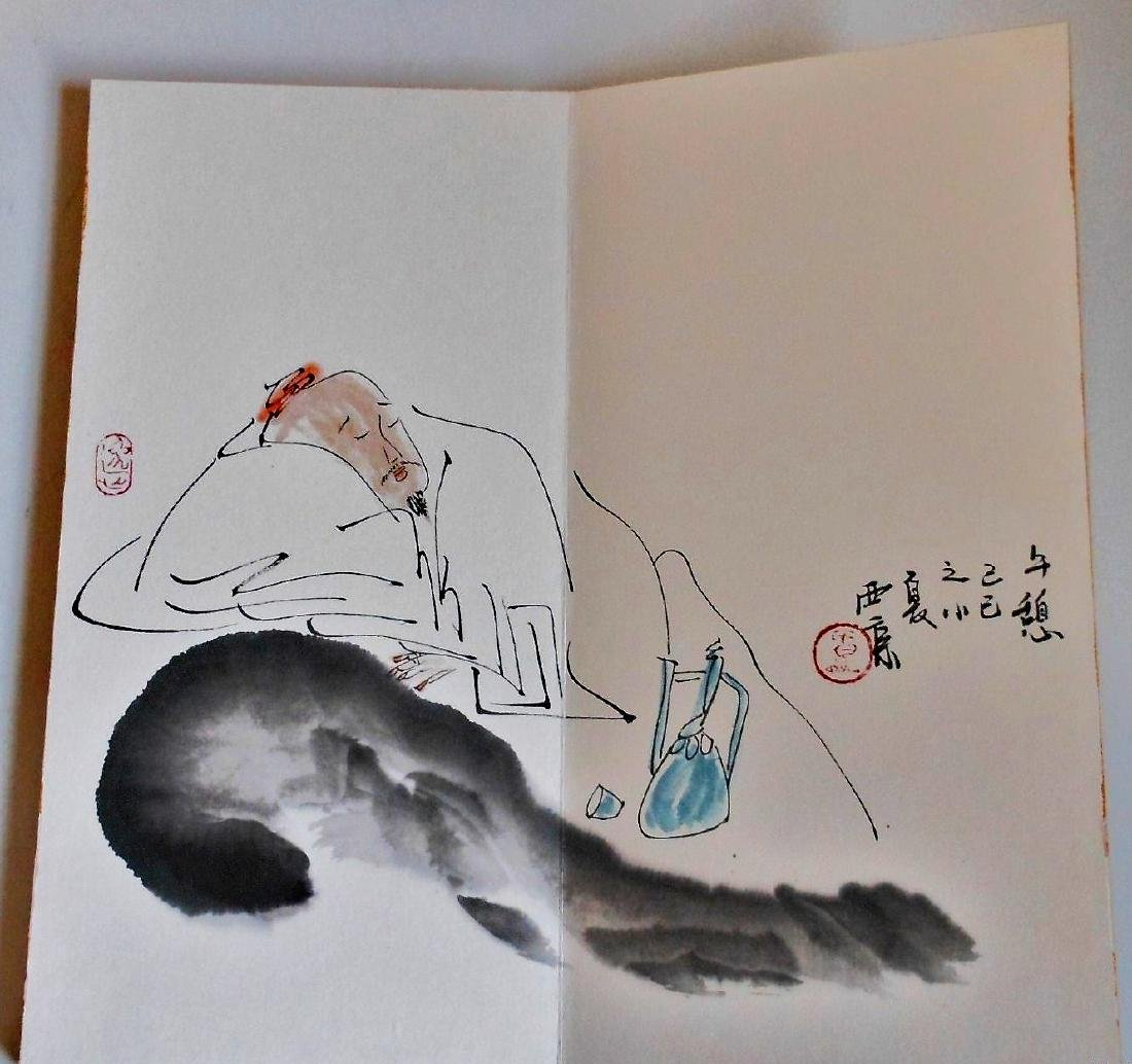 A Chinese color painting book painted with figures - 6