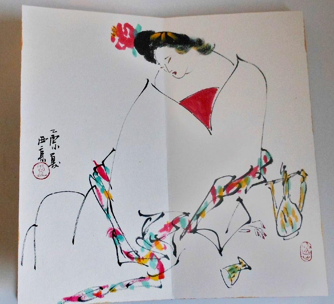 A Chinese color painting book painted with figures - 8