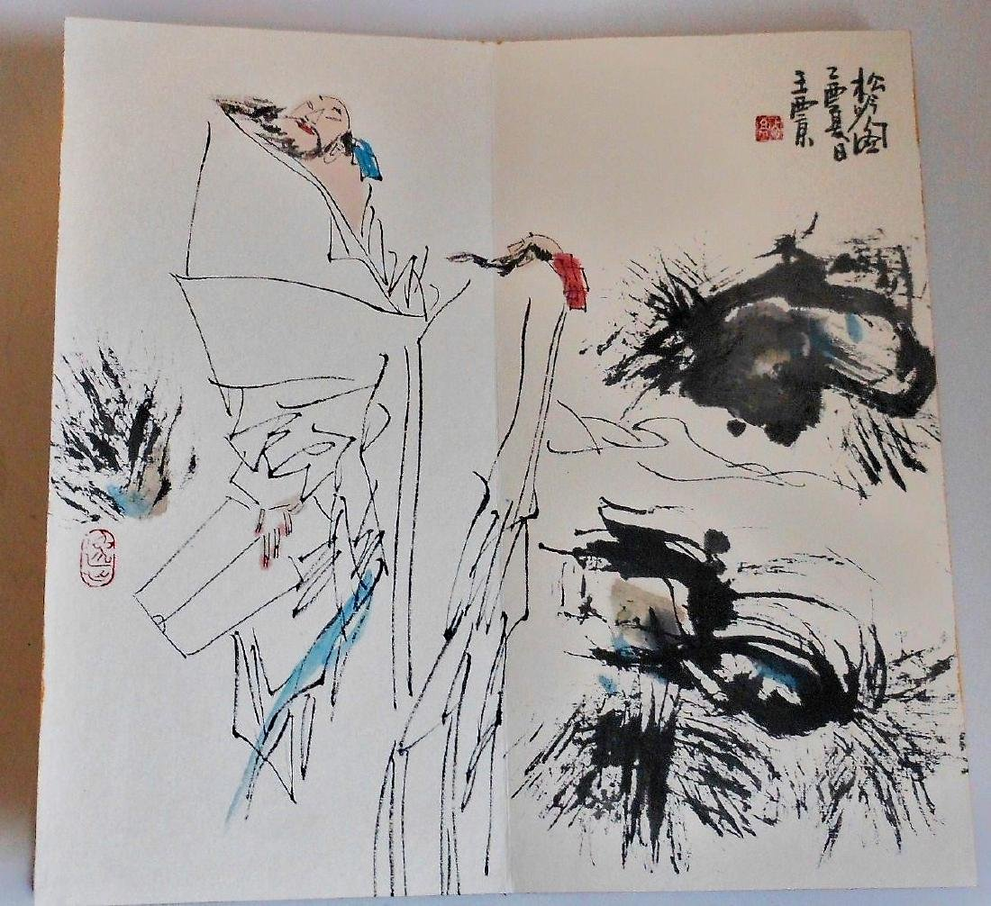 A Chinese color painting book painted with figures - 9