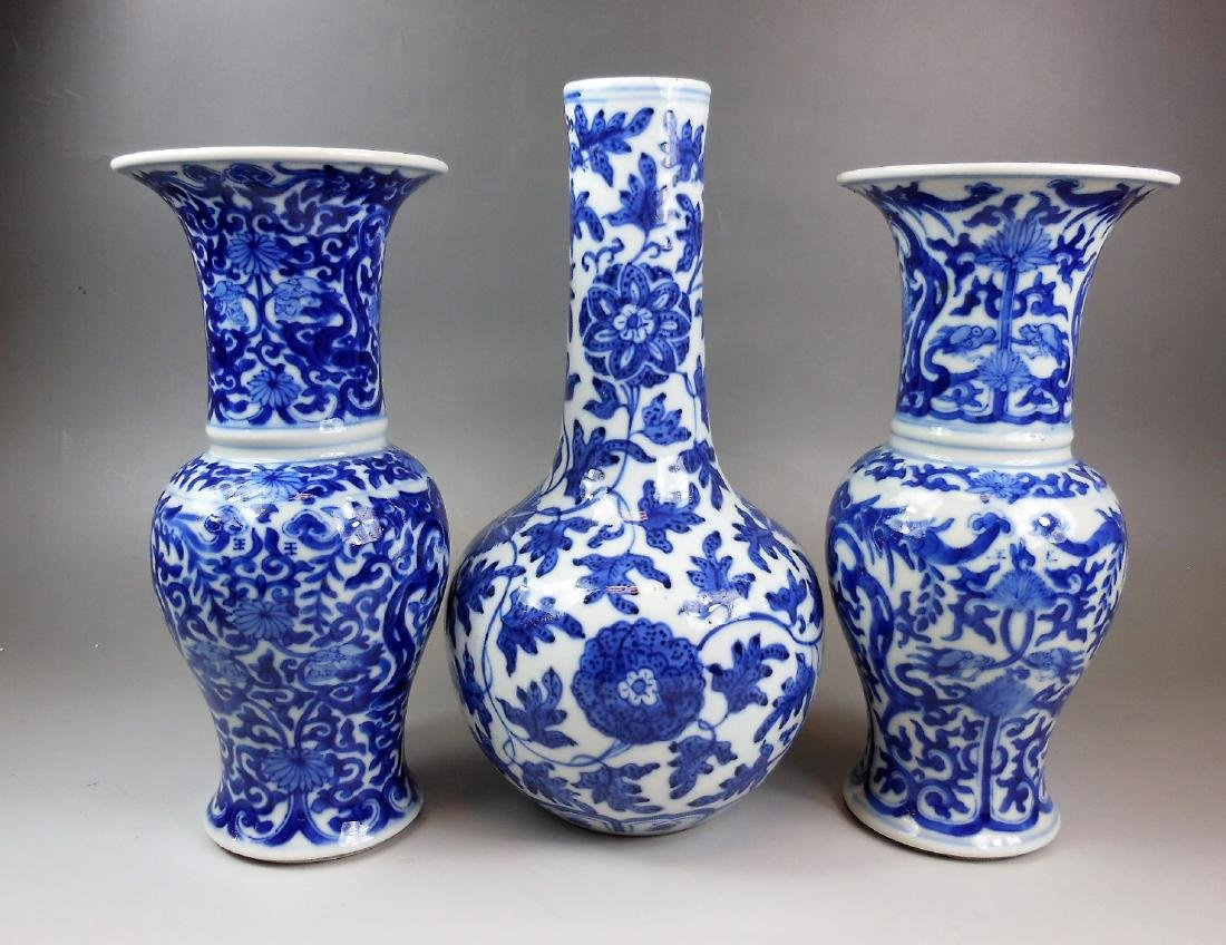 3 PCS Chinese Qing dynasty blue and white porcelain