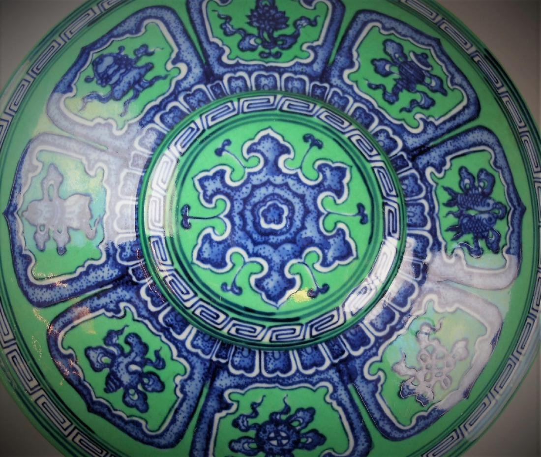 A Chinese Qing dynasty blue and white with green glazed - 6