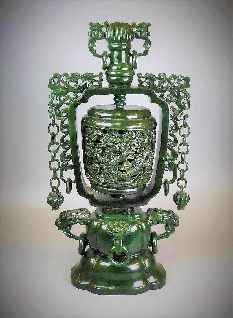 A fine Chinese hetian spinach jade the carved vase
