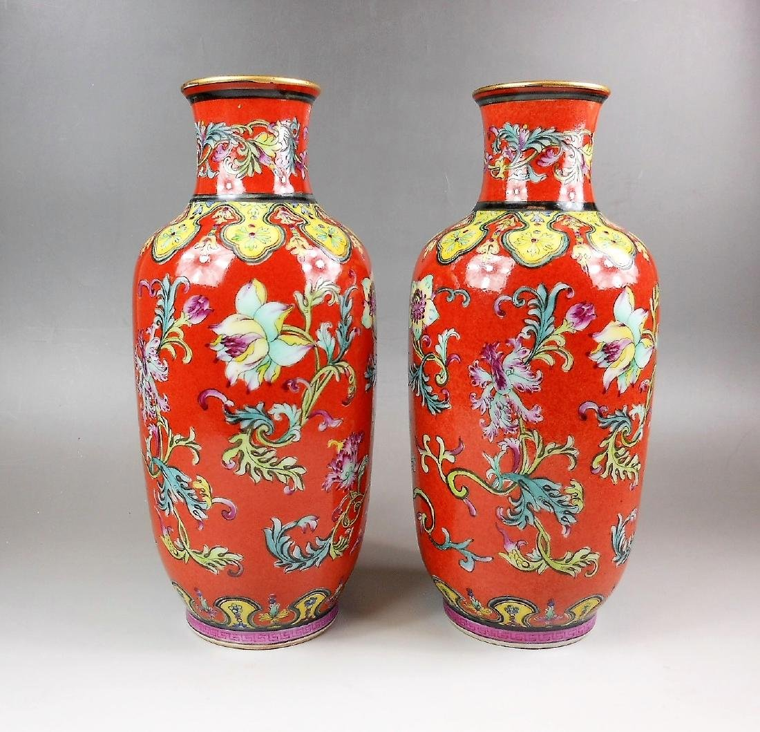 A pair Chinese Qing dynasty coral red famille rose vase