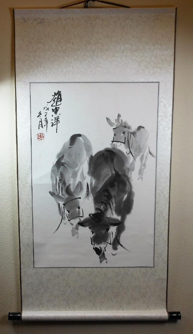 A Chinese color painting paper scroll painted with