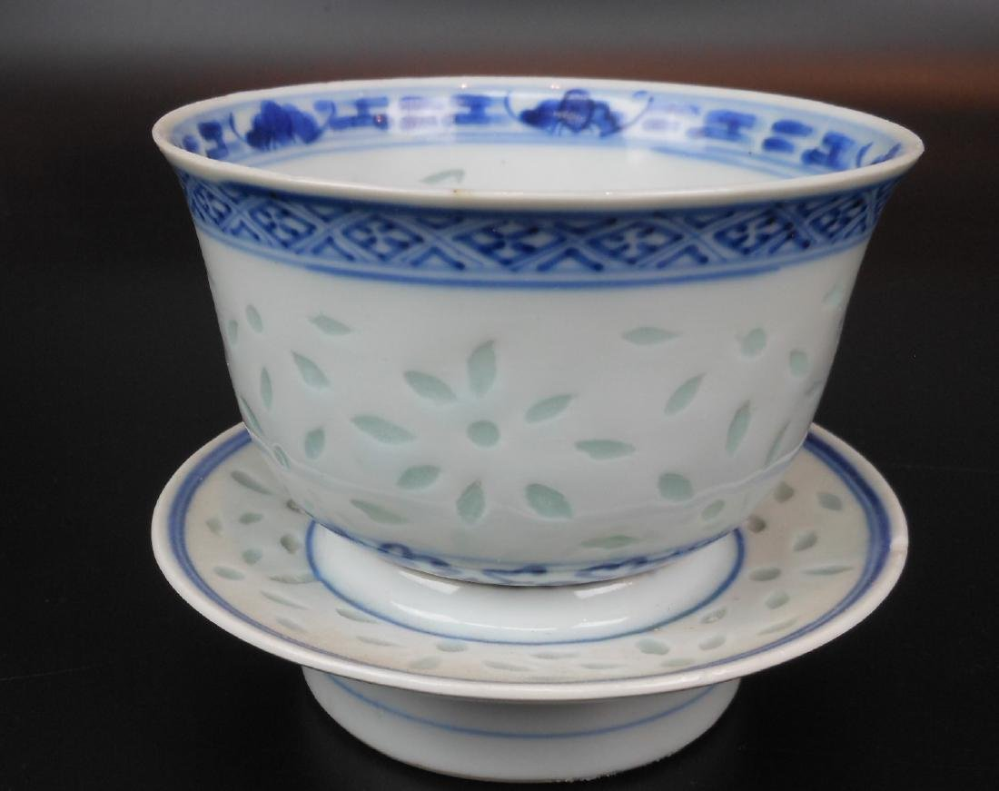A Chinese blue and white porcelain goblet