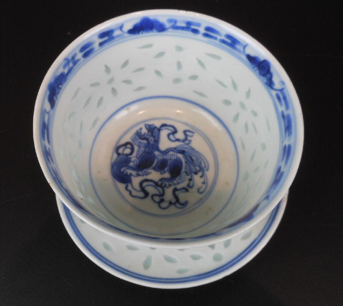 A Chinese blue and white porcelain goblet - 3