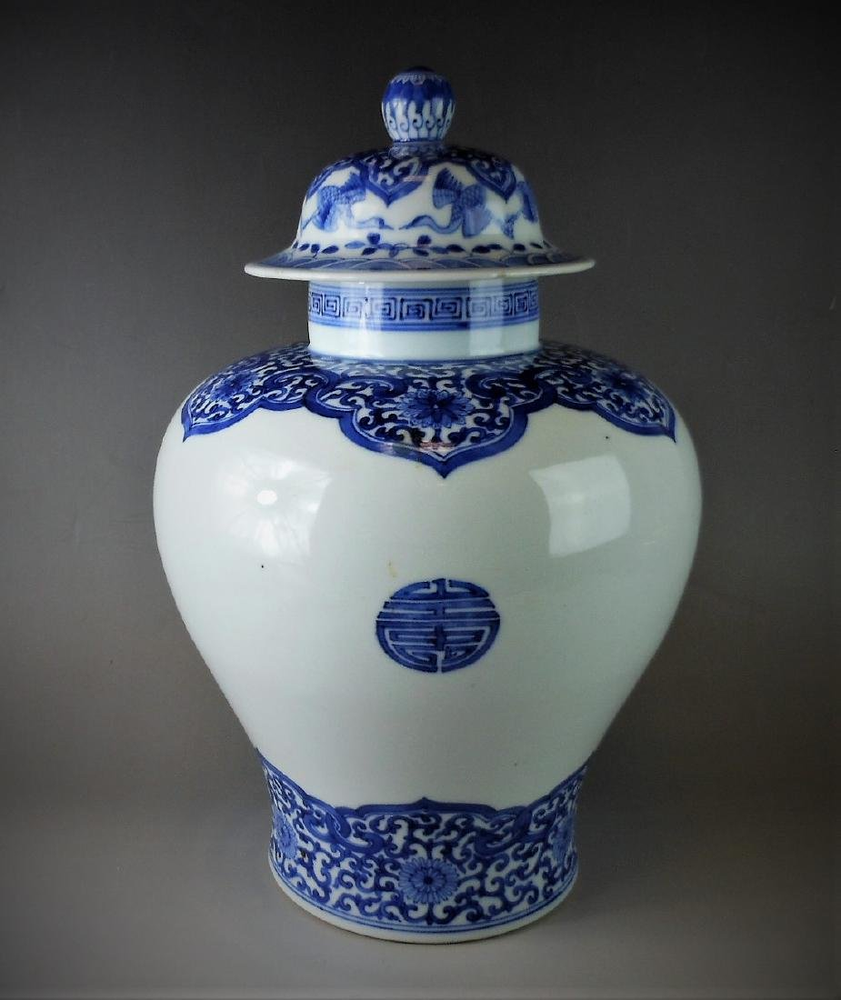 A Chinese Qing dynasty blue and white porcelain jar