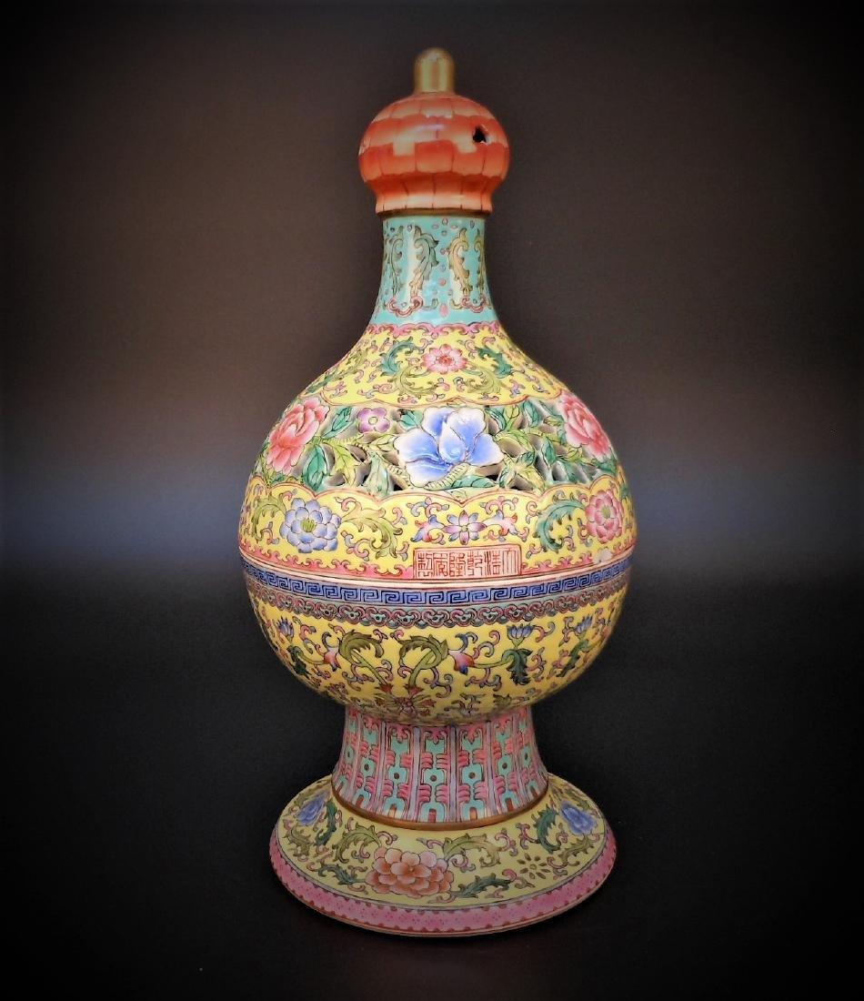 A Chinese yellow-glazed famille rose porcelain censer