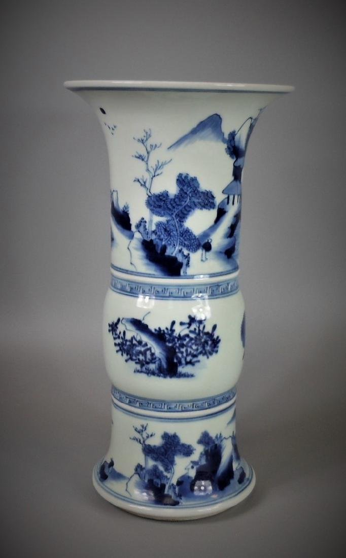 A Chinese Qing dynasty blue and white porcelain gu