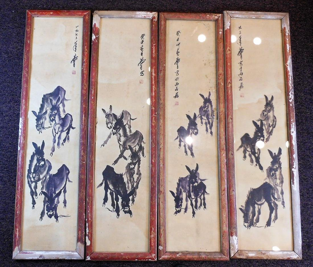 4 Chinese painting paper painted with donkeys