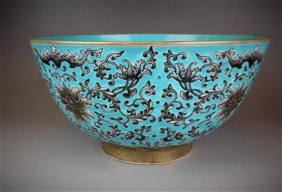 A Chinese Qing dynasty turquoise-ground gilt black