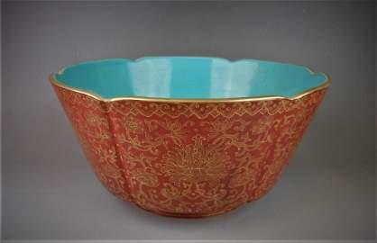 A Chinese gilt red glazed porcelain bowl