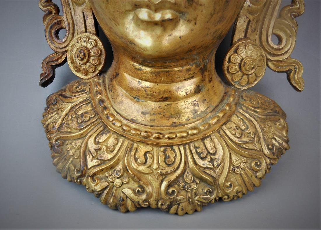 A Chinese Qing dynasty gilt bronze Buddha head - 3