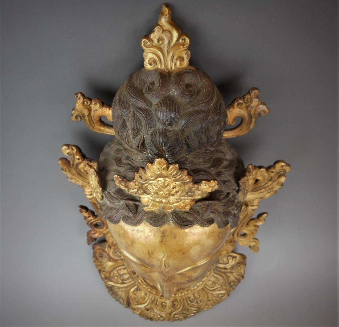 A Chinese Qing dynasty gilt bronze Buddha head - 4
