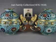 Pair Chinese cloisonne enamel jars with lid