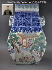 A Chinese famille rose and blue white porcelain playing