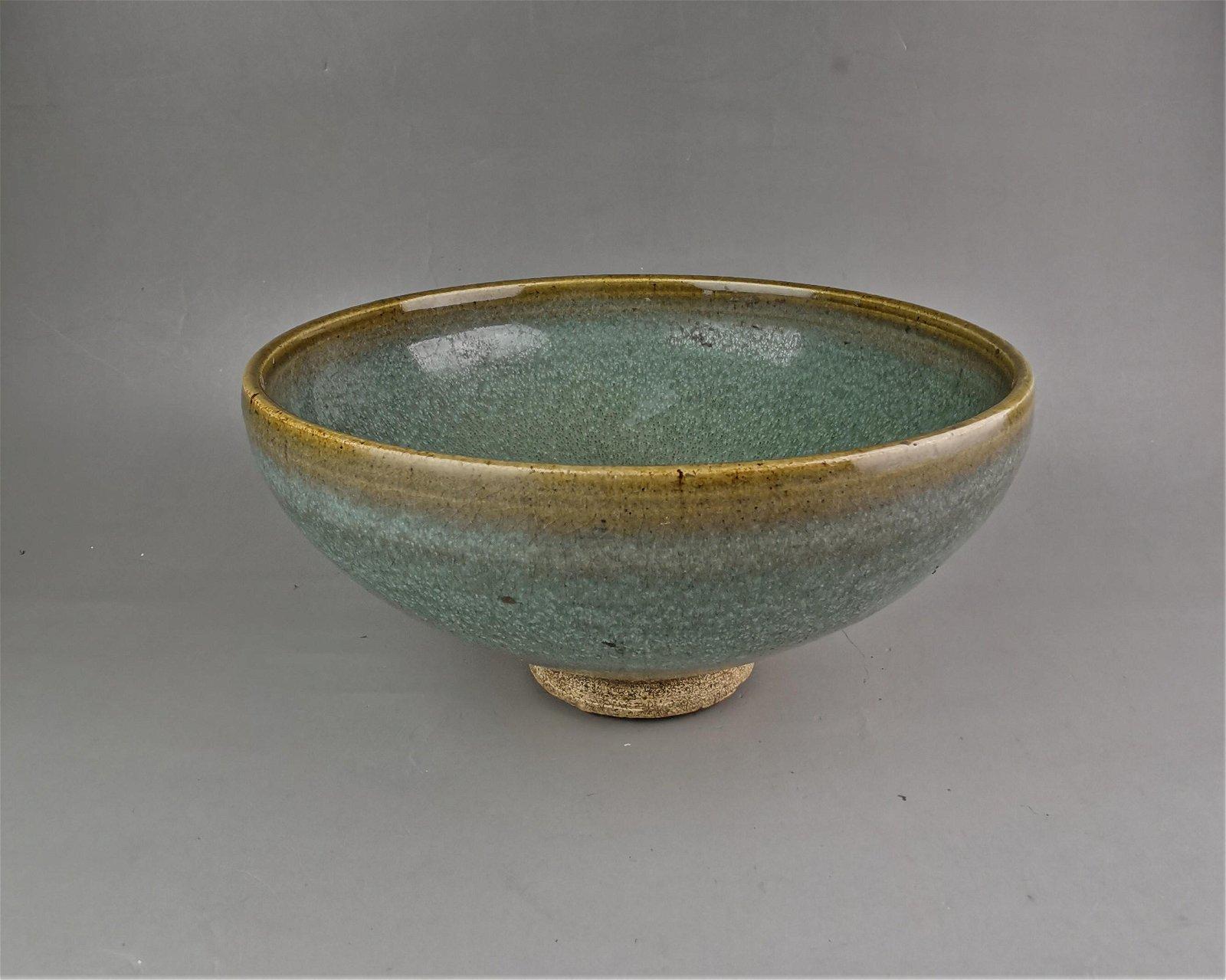 A Chinese Yuan style Jun-yao celadon porcelain bowl