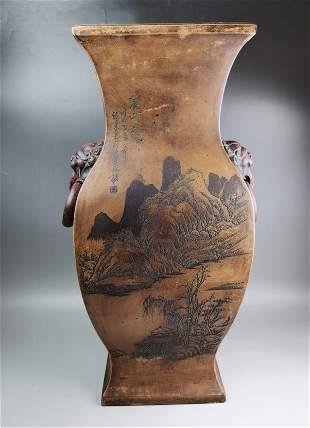 A Chinese Qing style zisha-stoneware vase with handles