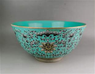 A large Chinese Qing style turquoise-ground gilt black