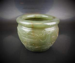 A Chinese Q ing style hetian celadon jade like carved