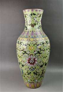 A Chinese famille rose porcelain flowers vase