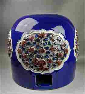 A Chinese Yuan style blue glazed and famille rose