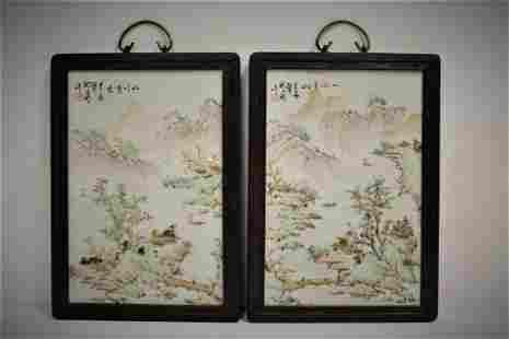 Pair Chinese late Qing/Republic qianjiangcai porcelain