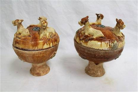 Pair Chinese Tang style pottery food jar (dou)
