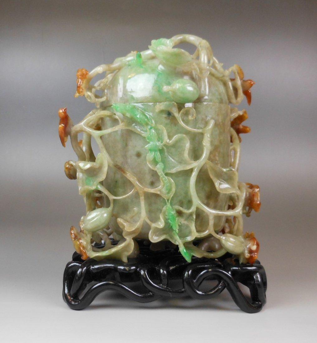 qing-dynasty natural color jadeite carved jar